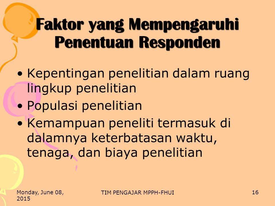 Faktor yang Mempengaruhi Penentuan Responden