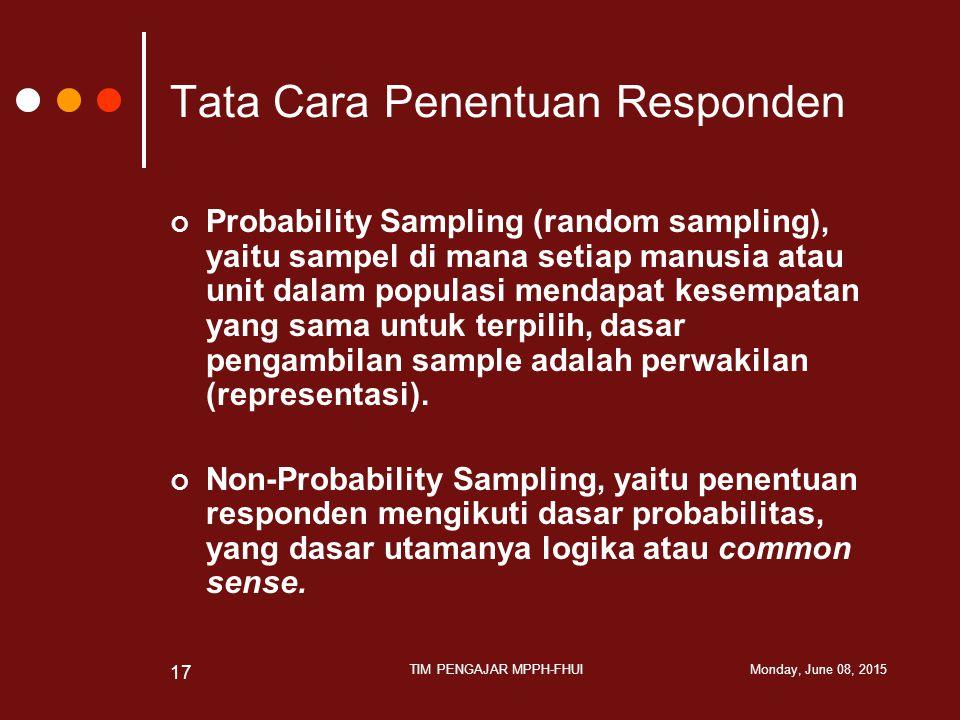 Tata Cara Penentuan Responden