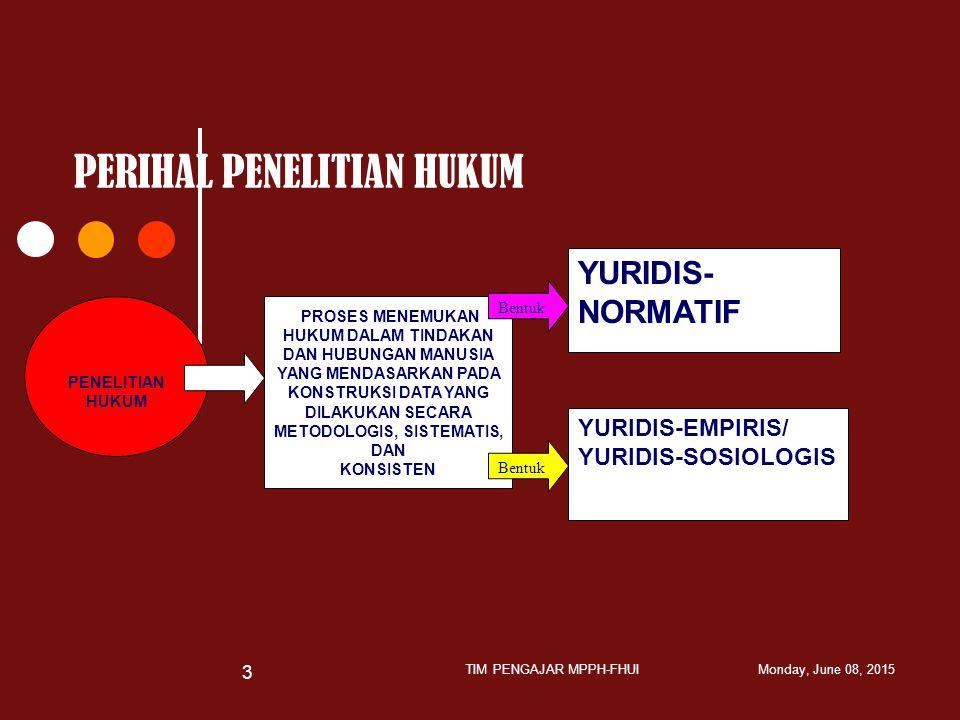PERIHAL PENELITIAN HUKUM