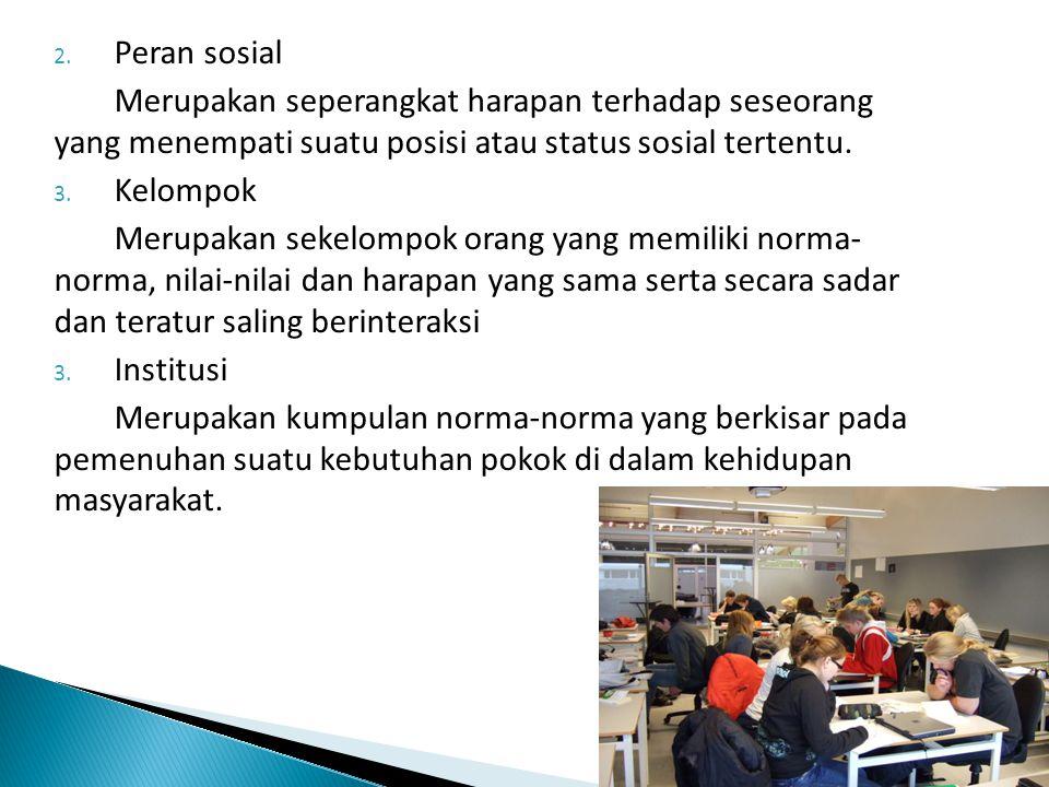 Peran sosial Merupakan seperangkat harapan terhadap seseorang yang menempati suatu posisi atau status sosial tertentu.