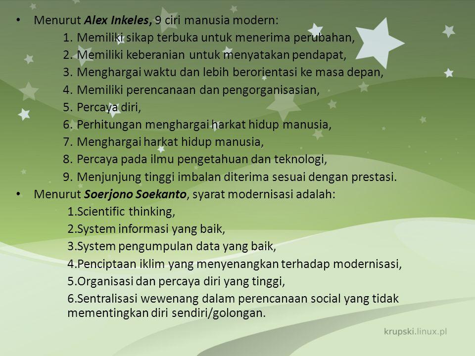 Menurut Alex Inkeles, 9 ciri manusia modern:
