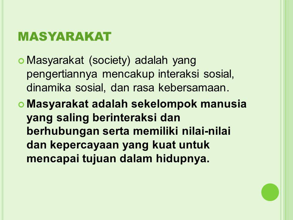 MASYARAKAT Masyarakat (society) adalah yang pengertiannya mencakup interaksi sosial, dinamika sosial, dan rasa kebersamaan.