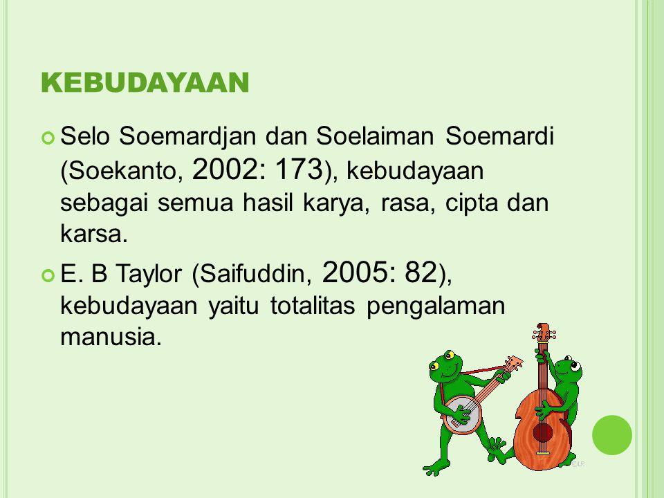 KEBUDAYAAN Selo Soemardjan dan Soelaiman Soemardi (Soekanto, 2002: 173), kebudayaan sebagai semua hasil karya, rasa, cipta dan karsa.