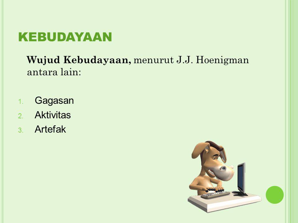 KEBUDAYAAN Wujud Kebudayaan, menurut J.J. Hoenigman antara lain: