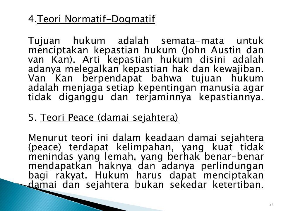 4.Teori Normatif-Dogmatif Tujuan hukum adalah semata-mata untuk menciptakan kepastian hukum (John Austin dan van Kan).
