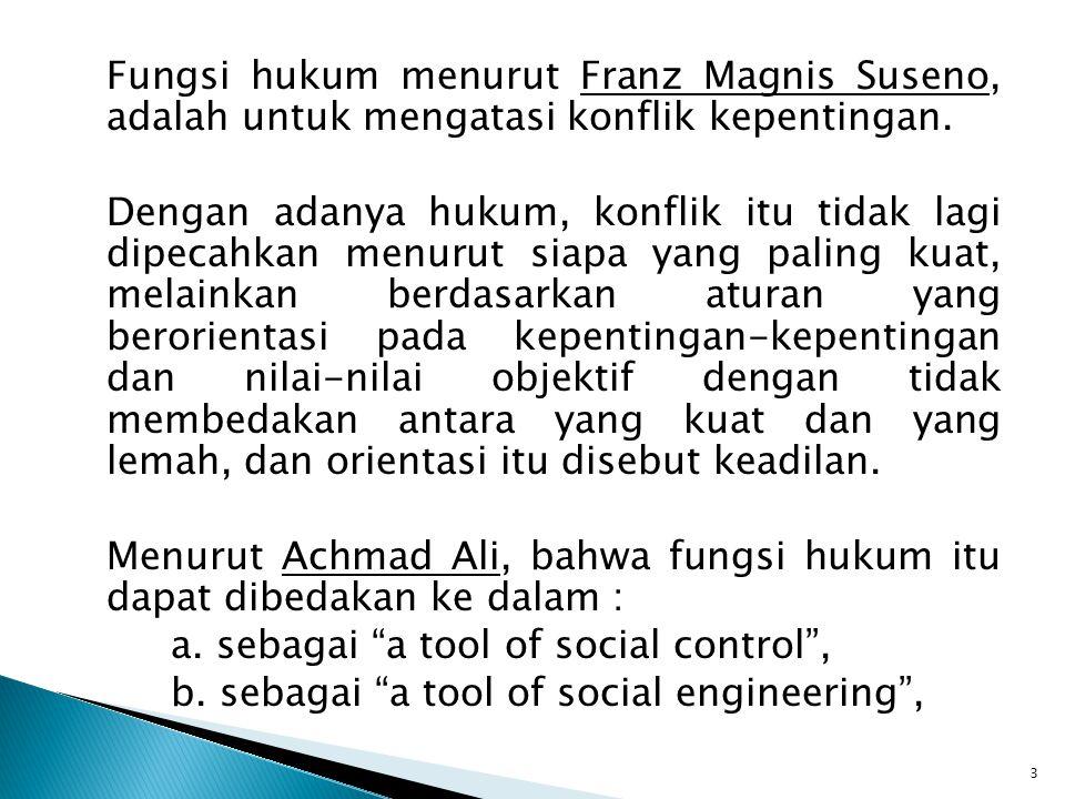 Fungsi hukum menurut Franz Magnis Suseno, adalah untuk mengatasi konflik kepentingan.