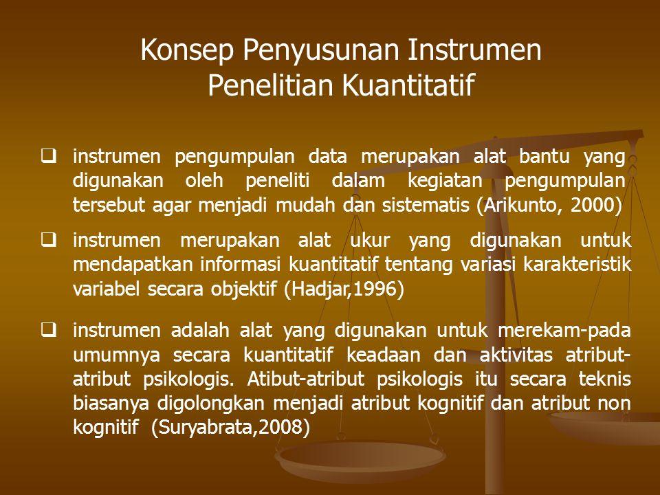 Konsep Penyusunan Instrumen Penelitian Kuantitatif