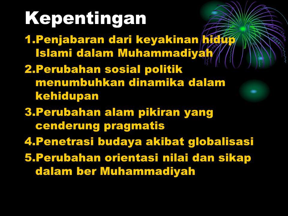 Kepentingan 1.Penjabaran dari keyakinan hidup Islami dalam Muhammadiyah. 2.Perubahan sosial politik menumbuhkan dinamika dalam kehidupan.