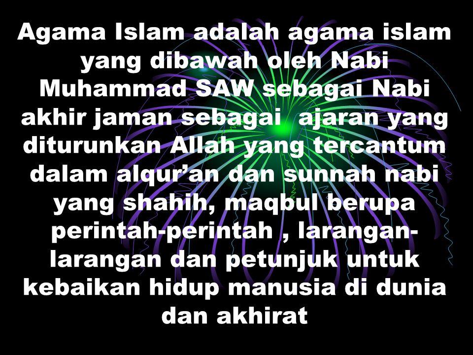 Agama Islam adalah agama islam yang dibawah oleh Nabi Muhammad SAW sebagai Nabi akhir jaman sebagai ajaran yang diturunkan Allah yang tercantum dalam alqur'an dan sunnah nabi yang shahih, maqbul berupa perintah-perintah , larangan-larangan dan petunjuk untuk kebaikan hidup manusia di dunia dan akhirat
