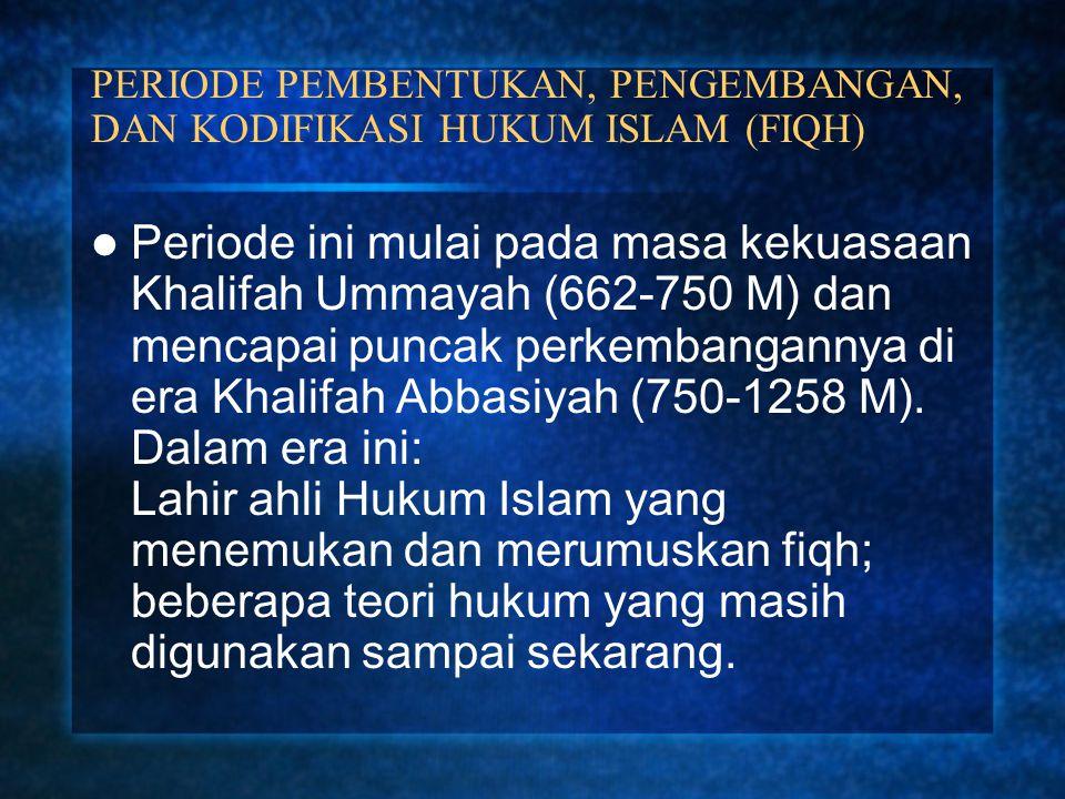 PERIODE PEMBENTUKAN, PENGEMBANGAN, DAN KODIFIKASI HUKUM ISLAM (FIQH)