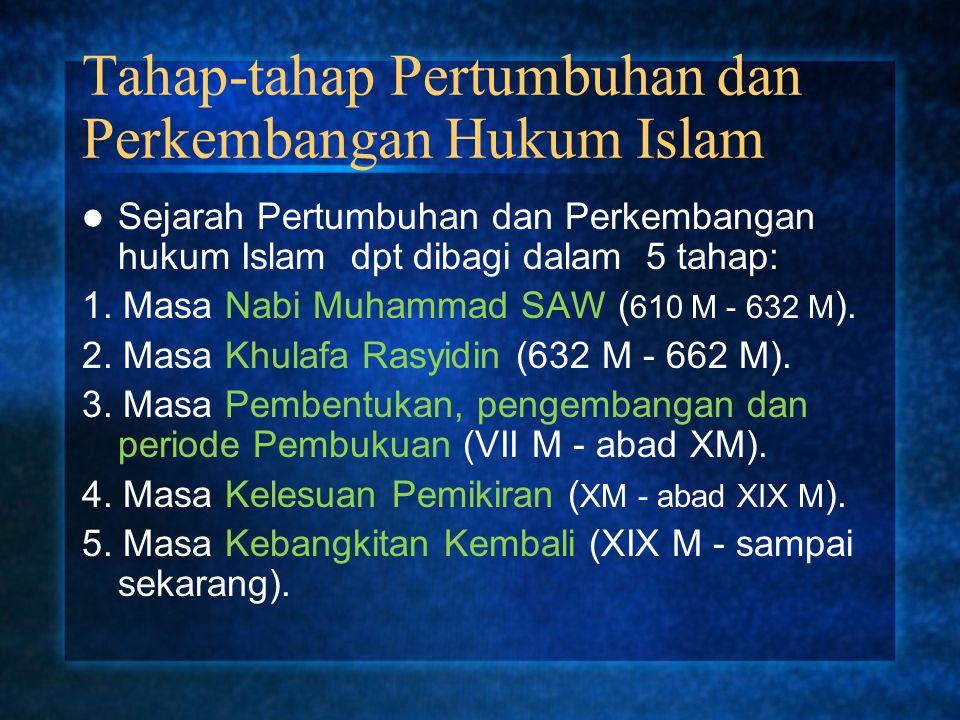 Tahap-tahap Pertumbuhan dan Perkembangan Hukum Islam