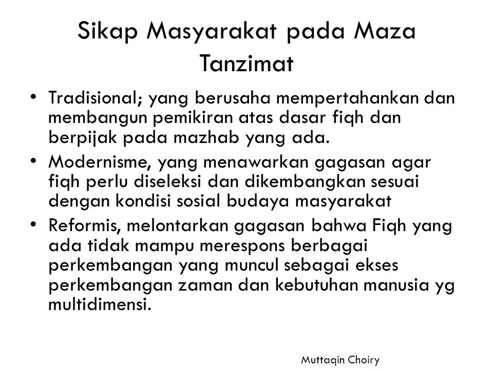Sikap Masyarakat pada Maza Tanzimat