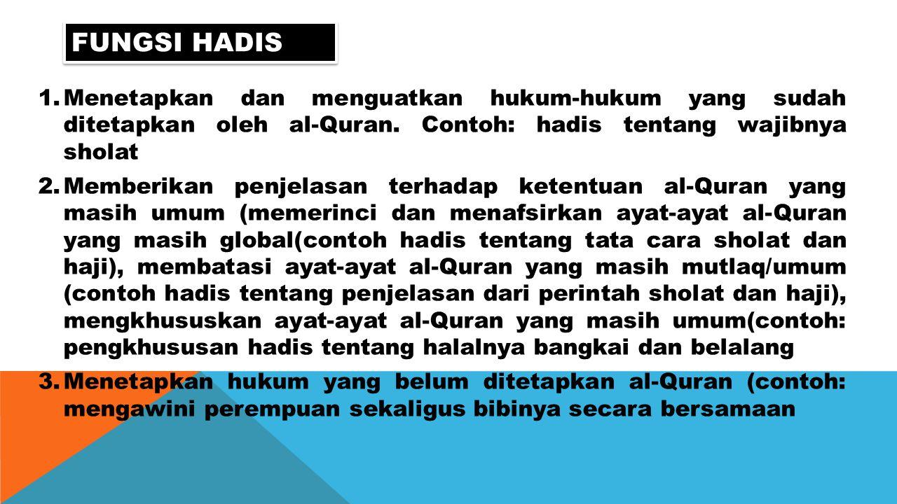 Fungsi hadis Menetapkan dan menguatkan hukum-hukum yang sudah ditetapkan oleh al-Quran. Contoh: hadis tentang wajibnya sholat.