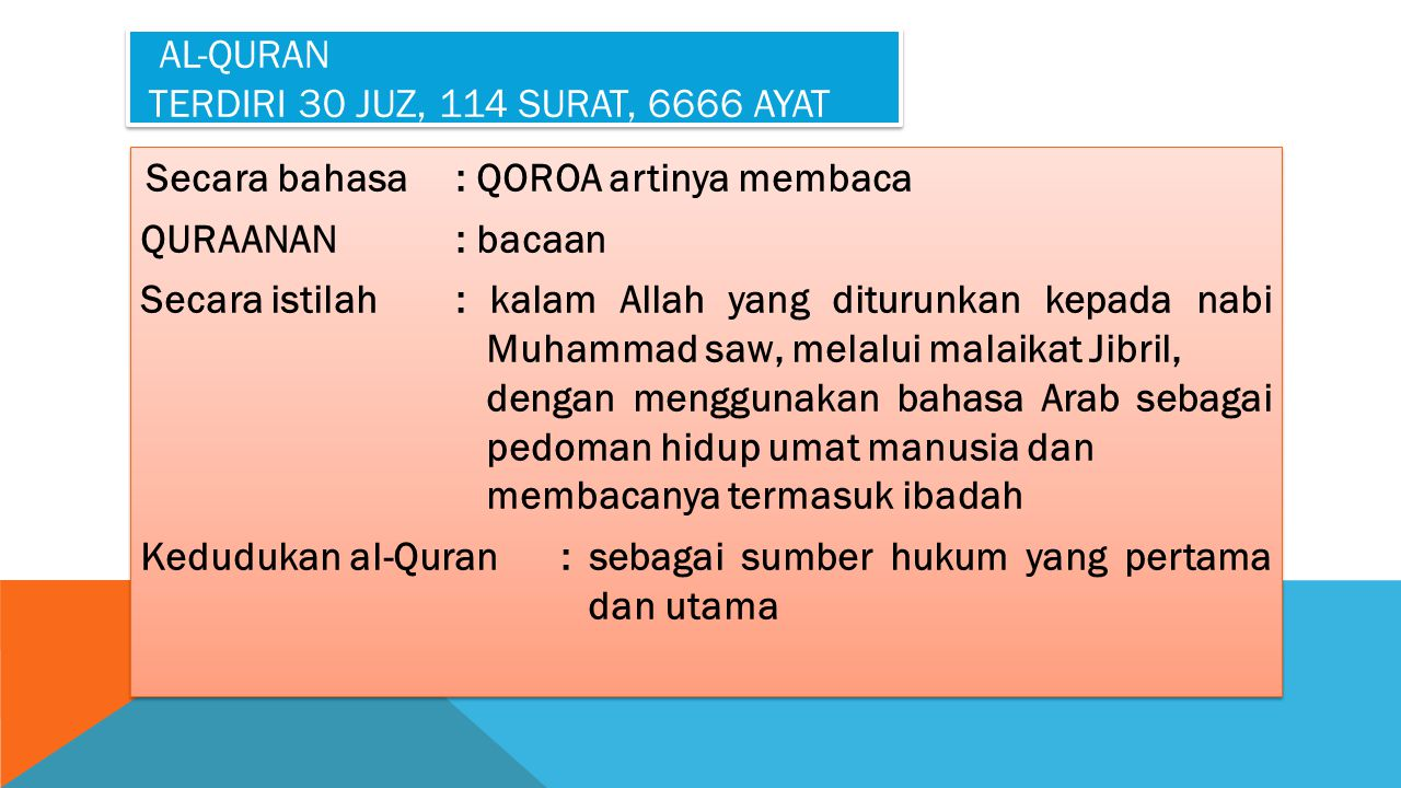 Al-Quran terdiri 30 juz, 114 surat, 6666 ayat