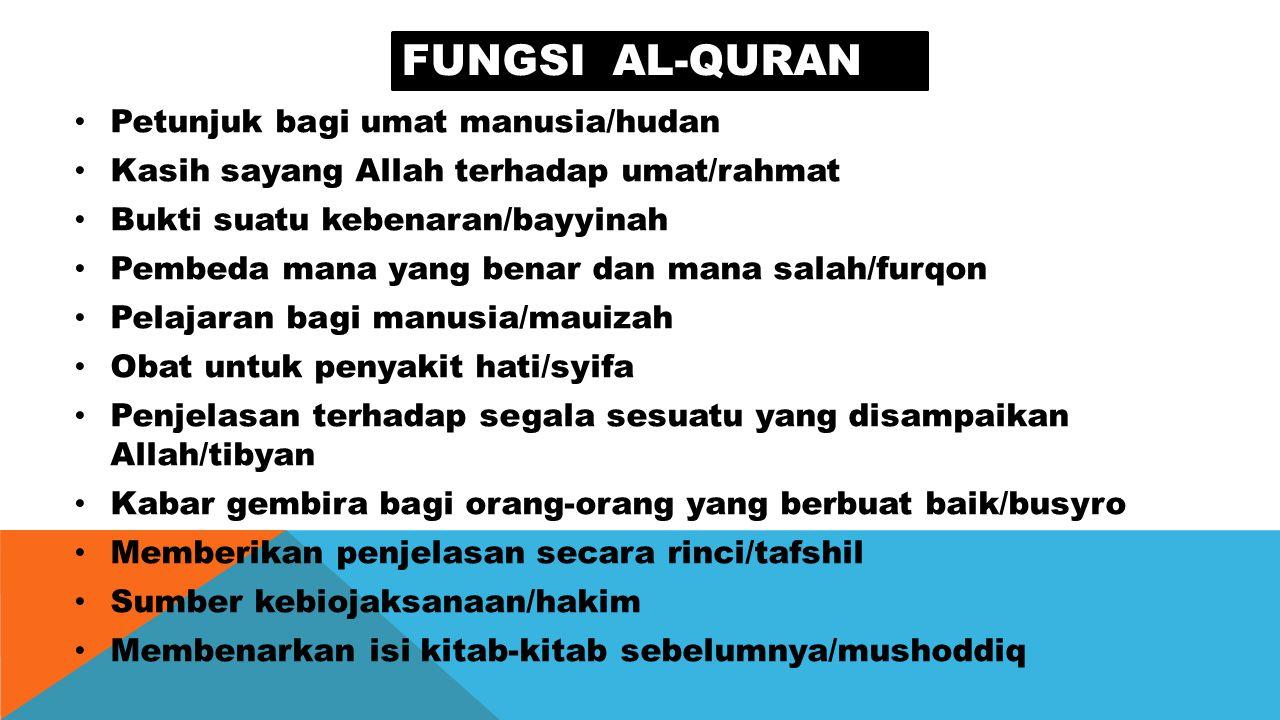Fungsi al-quran Petunjuk bagi umat manusia/hudan