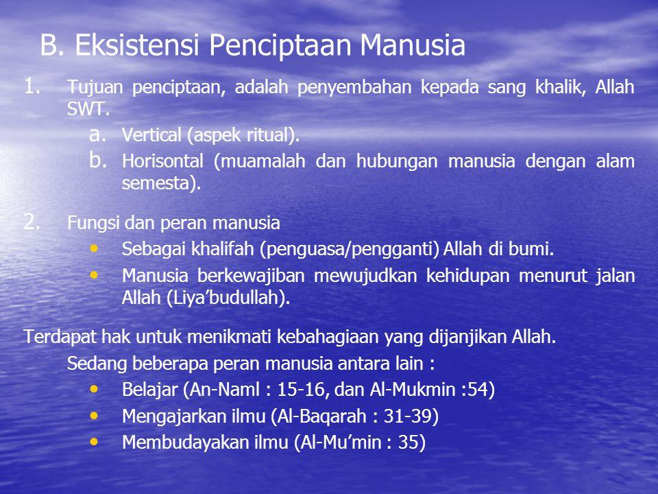 B. Eksistensi Penciptaan Manusia