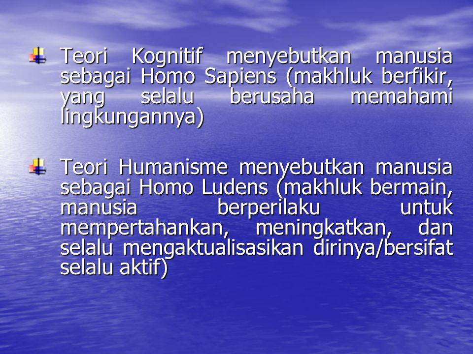 Teori Kognitif menyebutkan manusia sebagai Homo Sapiens (makhluk berfikir, yang selalu berusaha memahami lingkungannya)