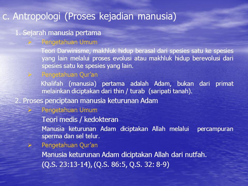 c. Antropologi (Proses kejadian manusia)