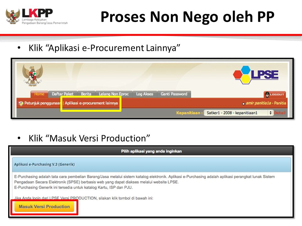 Proses Non Nego oleh PP Klik Aplikasi e-Procurement Lainnya