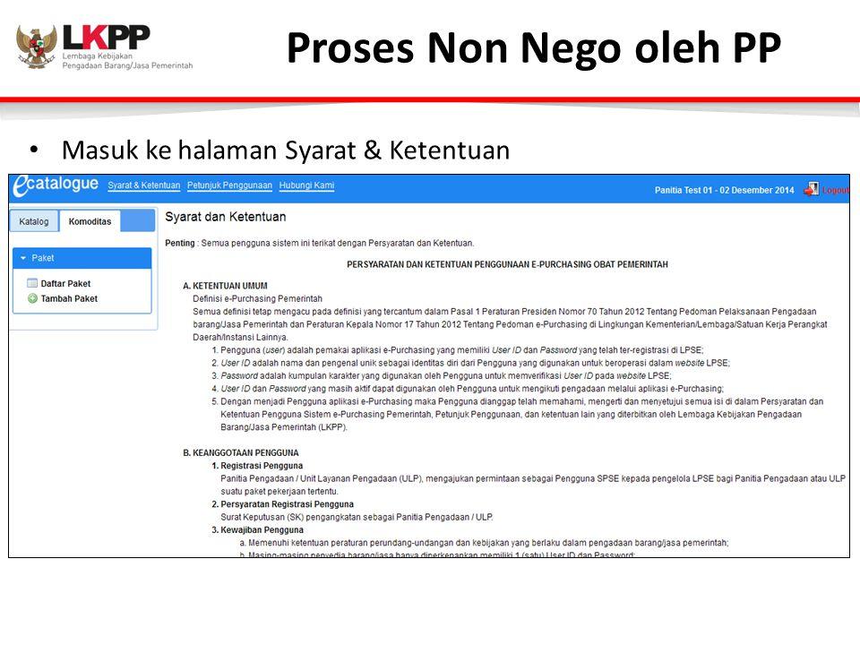 Proses Non Nego oleh PP Masuk ke halaman Syarat & Ketentuan