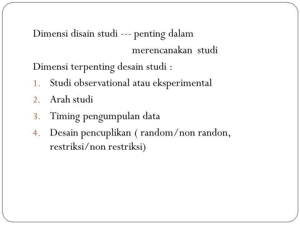 Dimensi disain studi --- penting dalam