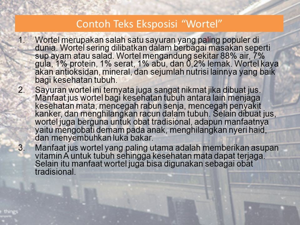 Contoh Teks Eksposisi Wortel