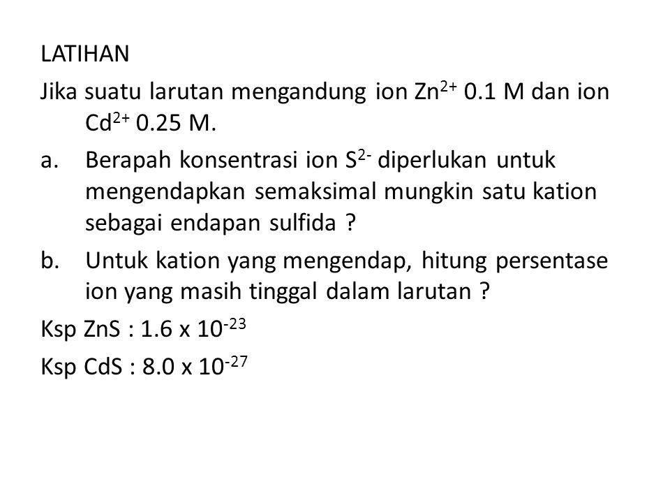 LATIHAN Jika suatu larutan mengandung ion Zn2+ 0.1 M dan ion Cd2+ 0.25 M.