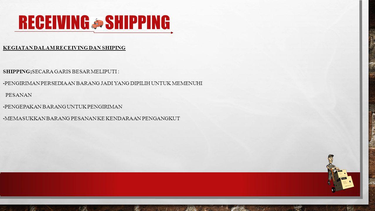 Receiving & shipping Kegiatan dalam receiving dan shiping