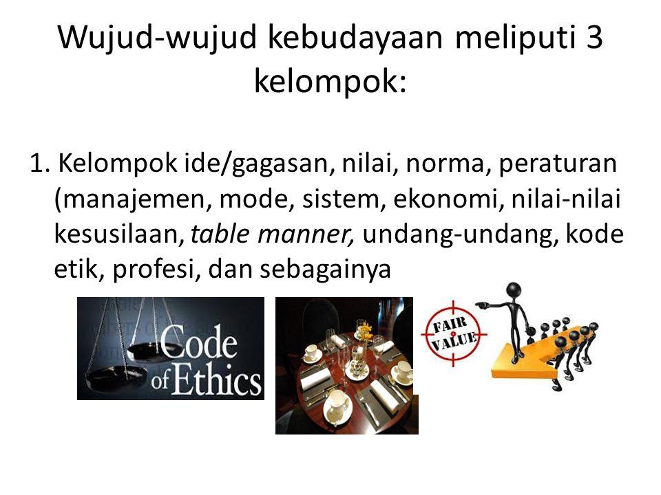 Wujud-wujud kebudayaan meliputi 3 kelompok: