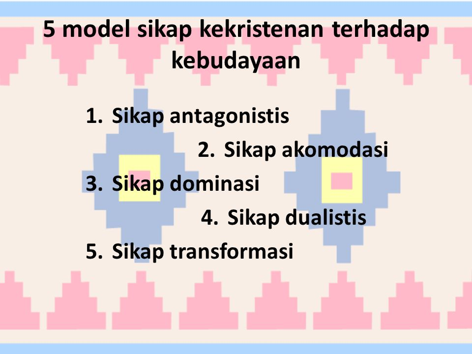 5 model sikap kekristenan terhadap kebudayaan