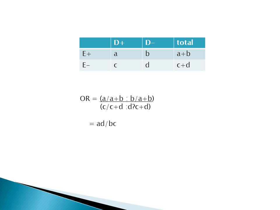 D+ D- total E+ a b a+b E- c d c+d OR = (a/a+b : b/a+b) (c/c+d :d c+d) = ad/bc
