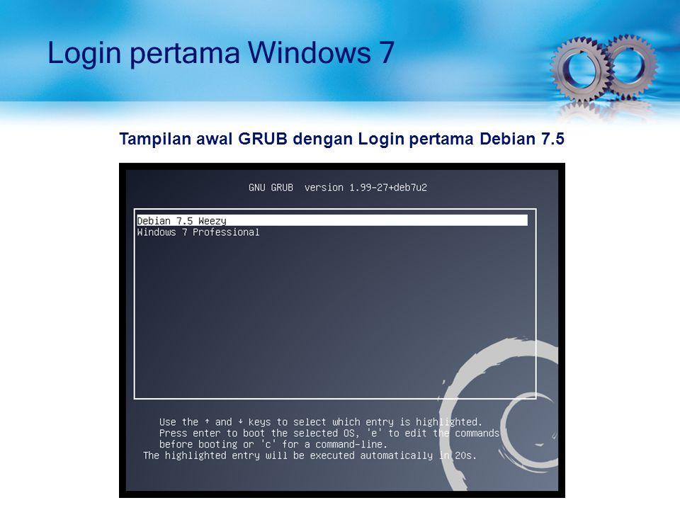 Tampilan awal GRUB dengan Login pertama Debian 7.5