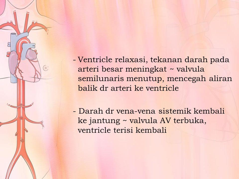 Ventricle relaxasi, tekanan darah pada arteri besar meningkat ~ valvula semilunaris menutup, mencegah aliran balik dr arteri ke ventricle