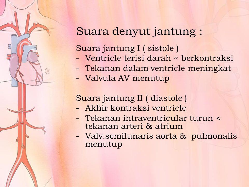 Suara denyut jantung : Suara jantung I ( sistole )