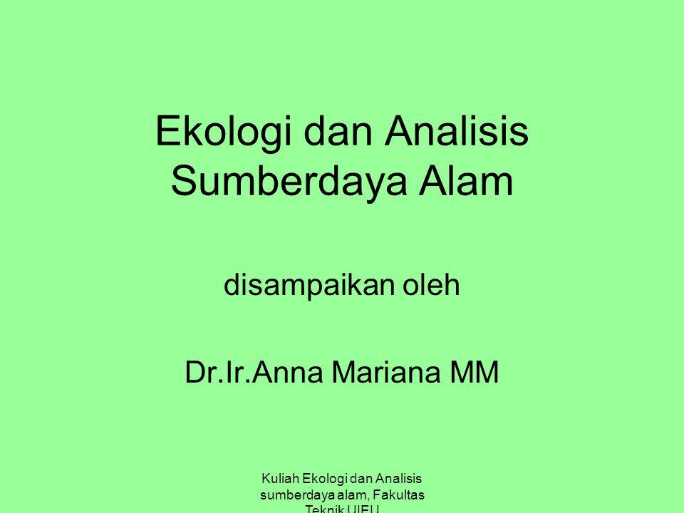 Ekologi dan Analisis Sumberdaya Alam