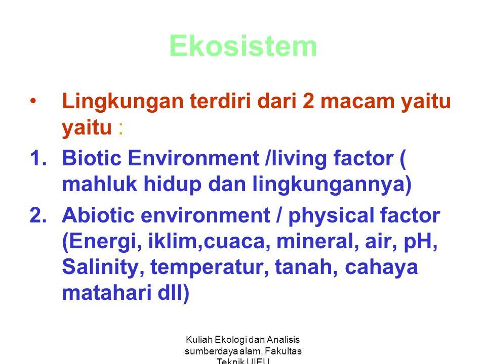 Kuliah Ekologi dan Analisis sumberdaya alam, Fakultas Teknik UIEU