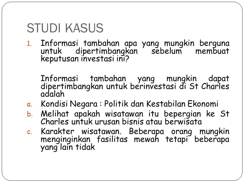 STUDI KASUS Informasi tambahan apa yang mungkin berguna untuk dipertimbangkan sebelum membuat keputusan investasi ini