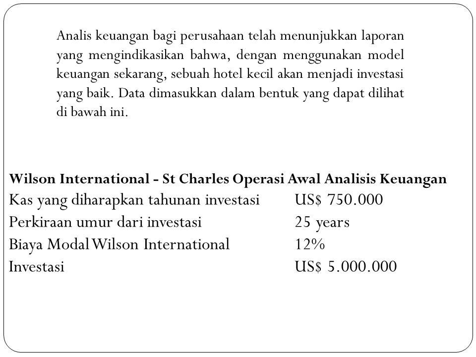 Kas yang diharapkan tahunan investasi US$ 750.000