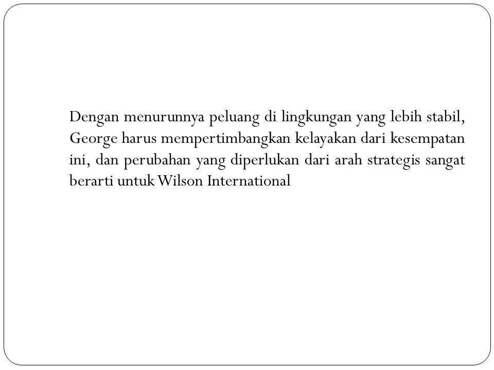 Dengan menurunnya peluang di lingkungan yang lebih stabil, George harus mempertimbangkan kelayakan dari kesempatan ini, dan perubahan yang diperlukan dari arah strategis sangat berarti untuk Wilson International
