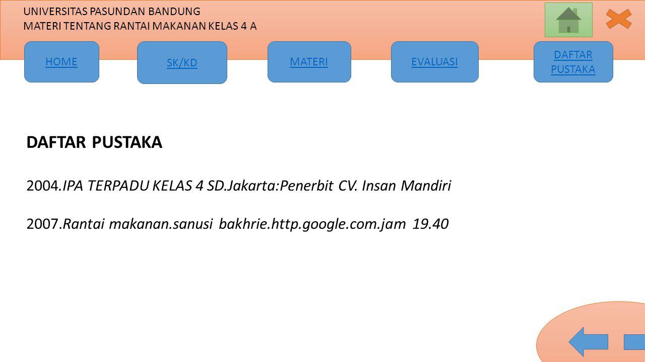 DAFTAR PUSTAKA 2004.IPA TERPADU KELAS 4 SD.Jakarta:Penerbit CV.