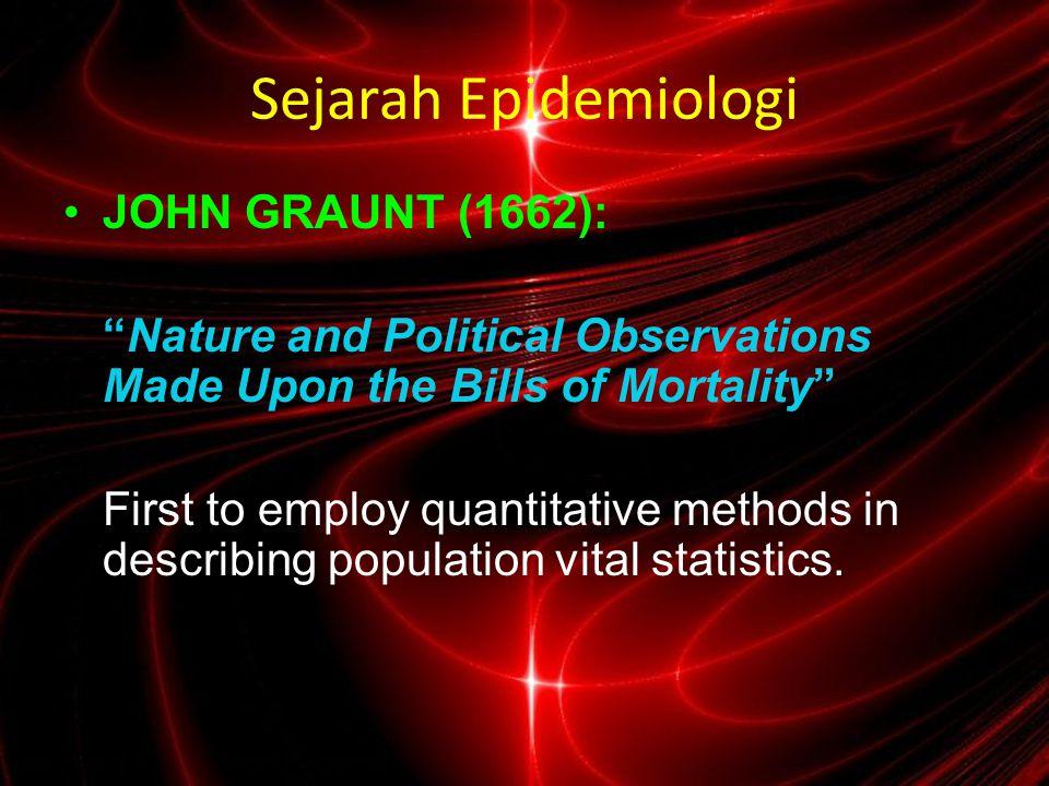 Sejarah Epidemiologi JOHN GRAUNT (1662):