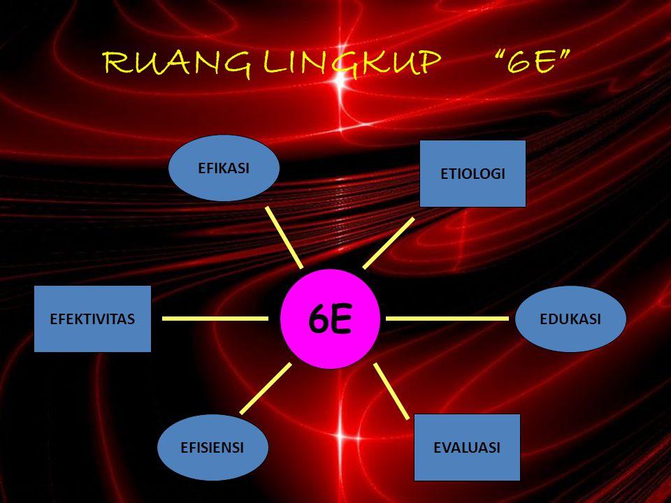 RUANG LINGKUP 6E 6E EFIKASI ETIOLOGI EFEKTIVITAS EDUKASI EFISIENSI