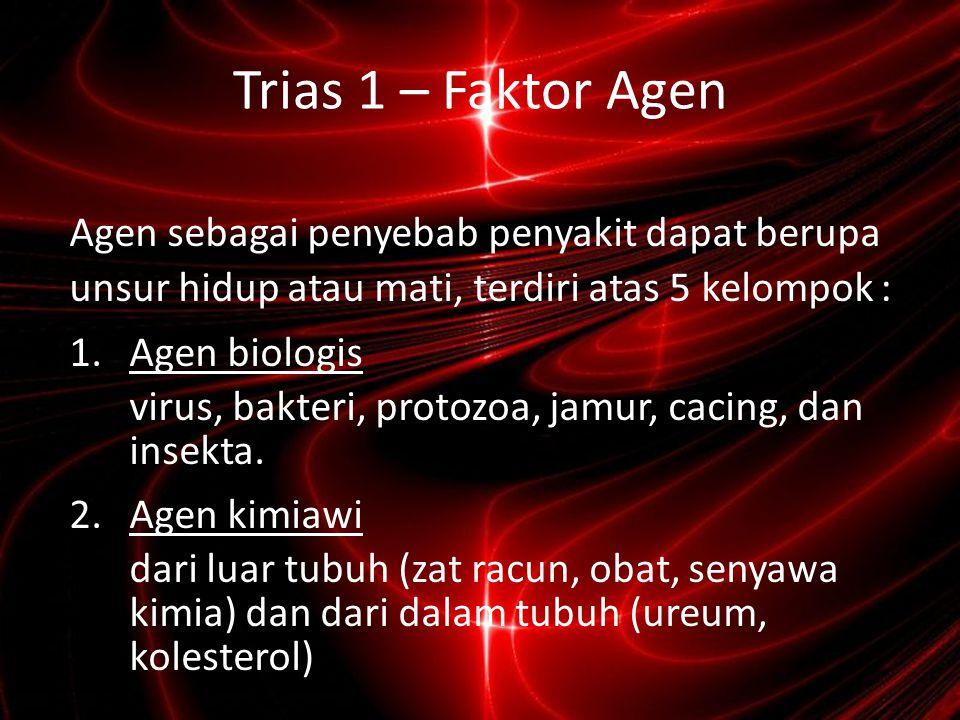 Trias 1 – Faktor Agen Agen sebagai penyebab penyakit dapat berupa