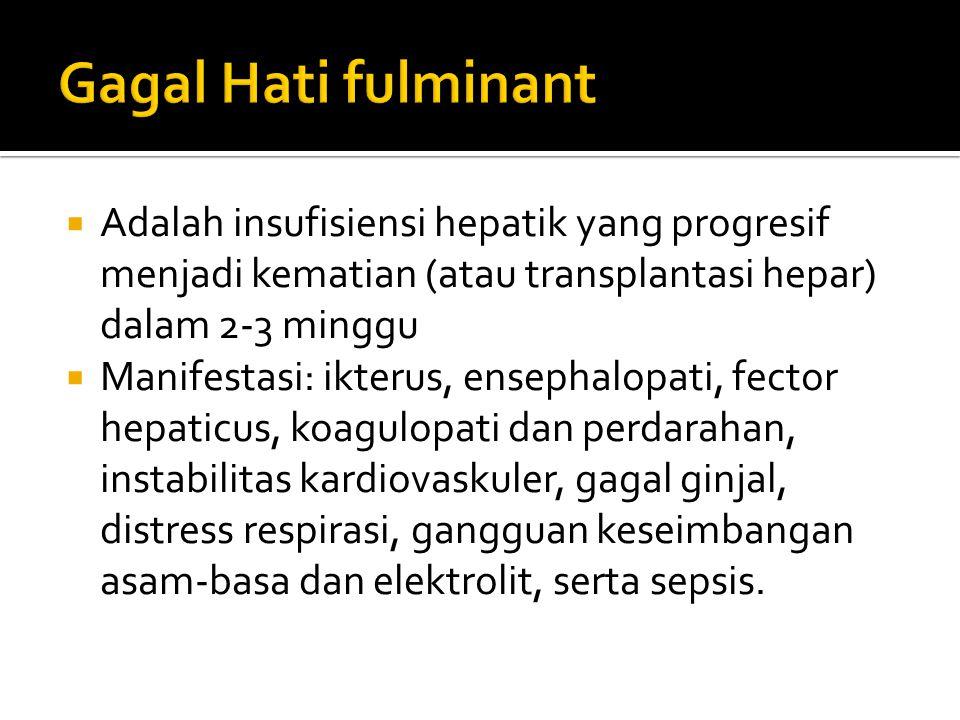 Gagal Hati fulminant Adalah insufisiensi hepatik yang progresif menjadi kematian (atau transplantasi hepar) dalam 2-3 minggu.