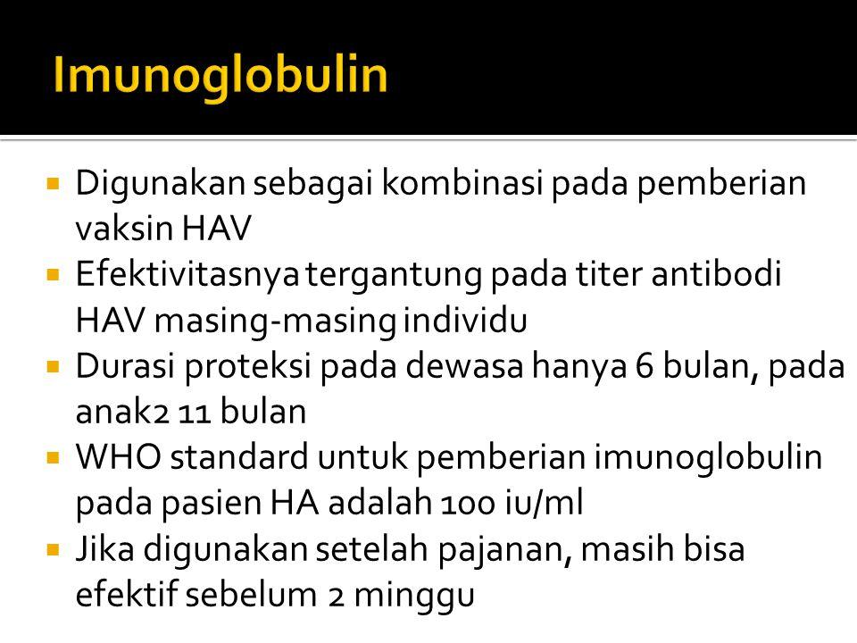 Imunoglobulin Digunakan sebagai kombinasi pada pemberian vaksin HAV