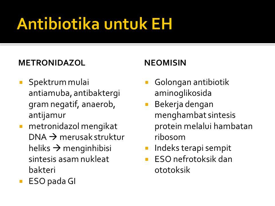 Antibiotika untuk EH METRONIDAZOL. NEOMISIN. Spektrum mulai antiamuba, antibaktergi gram negatif, anaerob, antijamur.