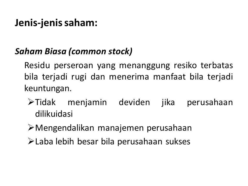 Jenis-jenis saham: Saham Biasa (common stock)