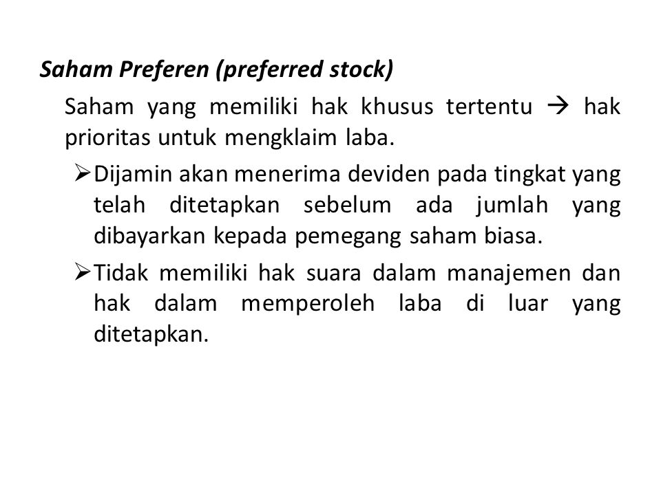 Saham Preferen (preferred stock)
