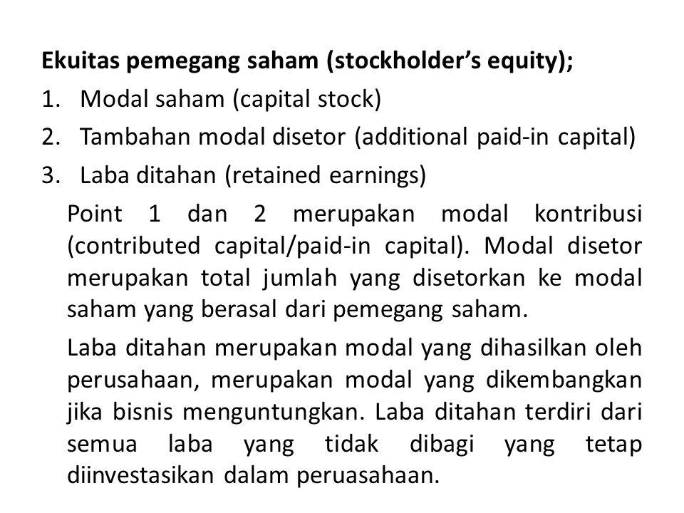 Ekuitas pemegang saham (stockholder's equity);
