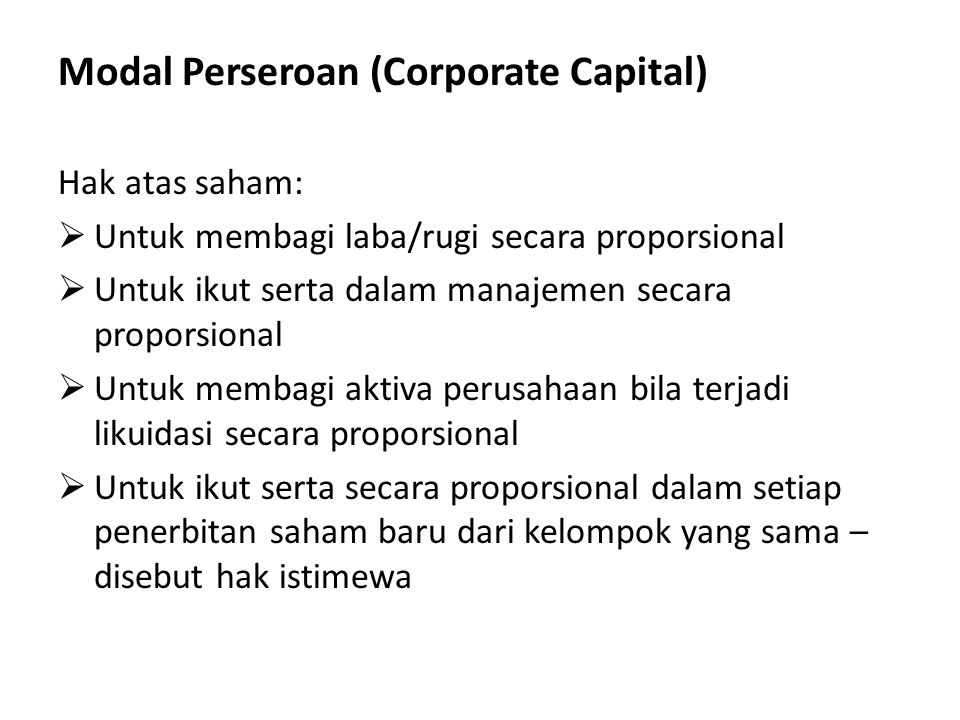 Modal Perseroan (Corporate Capital)